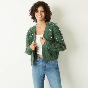 Mighty Fine Holiday Loop Pearl Open Front Cardigan